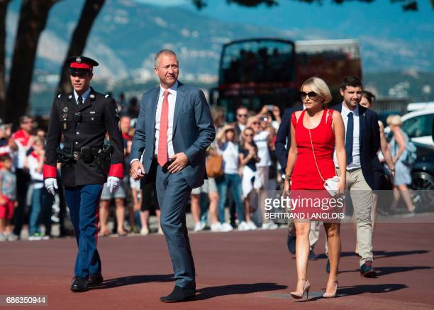 French Ligue 1 football club Monaco's Russian Vice President Vadim Vasilyev arrives with Monaco's players at the Prince's Palace on May 21, 2017 in...