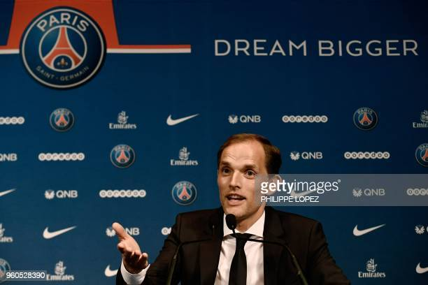 French Ligue 1 football club Paris SaintGermain's newly appointed coach German Thomas Tuchel speaks during a press conference after being officially...