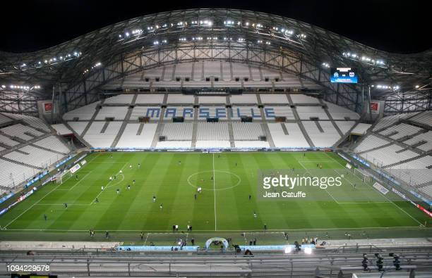 French Ligue 1 match behind closed doors between Olympique de Marseille and Girondins de Bordeaux at Stade Velodrome on February 5, 2019 in...