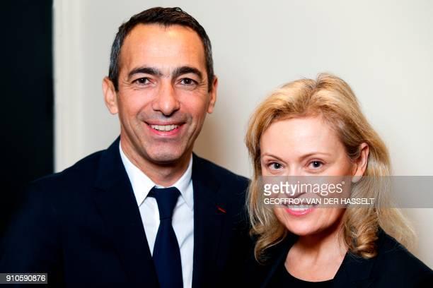 French Ligue de football professionnel's president Nathalie Boy de La Tour poses with French former football player Youri Djorkaeff named ambassador...