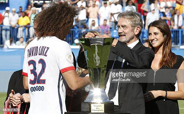 French Ligue President Frederic Thiriez greets David Luiz of PSG after the 2015 Trophee des Champions between Paris SaintGermain and Olympique...