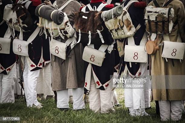 French line infantry equipped with muzzleloading flintlock rifle ammunition pouch briquet backpack and water bottle Napoleonic wars 19th century...