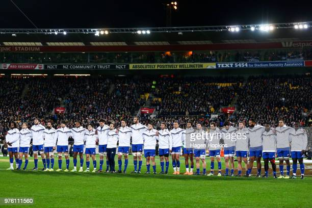 French line up for the national anthems during the International Test match between the New Zealand All Blacks and France at Westpac Stadium on June...