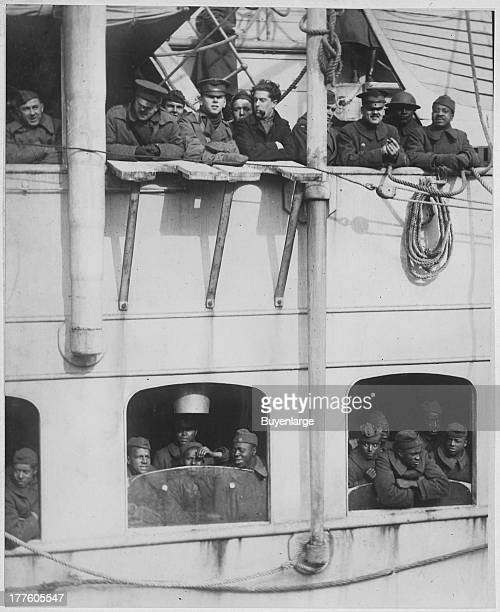 French liner La France arrives with 15th Infantry Negro fighters who won honors in France