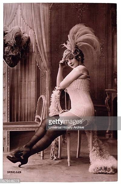 French Lingerie Model in Nylons and Ornate Hat 1920