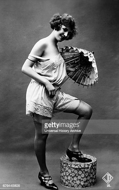 French Lingerie Model Posing with Parasol circa 1920