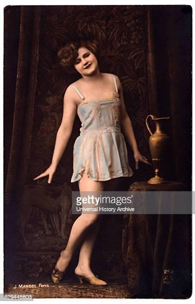 French Lingerie Model Standing Beside Vase circa 1920