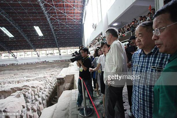 French Literature Nobel laureate Jean-Marie Gustave Le Clezio and Chinese Literature Nobel laureate Mo Yan visit the terra-cotta warriors on August...