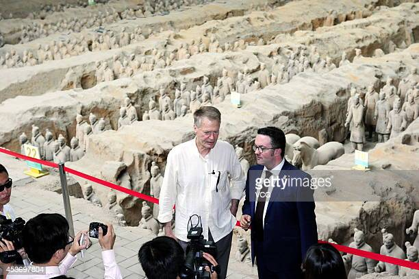 French Literature Nobel laureate Jean-Marie Gustave Le Clezio visits the terra-cotta warriors on August 16, 2014 in Xi'an, Shannxi Province of China....