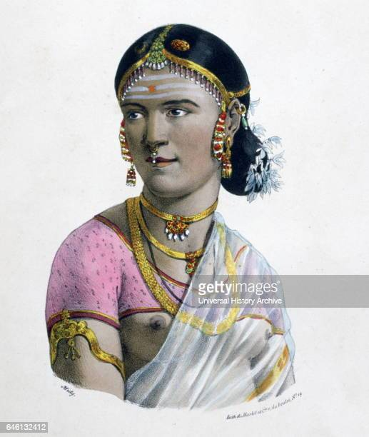 French lithograph of a high caste woman in India By Marlet 1828