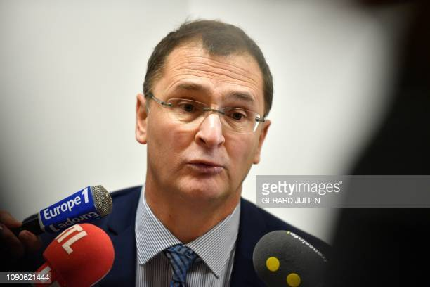 French local state prosecutor Patrick Desjardins addresses journalists at the Courthouse of Tarascon southeastern France on January 28 2019 after...