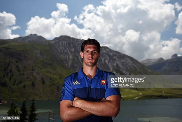French lock Alexandre Flanquart poses during a Rugby Union World Cup 2015 training camp on July 20, 2015 in Tignes, French Alps. AFP PHOTO / LOIC...