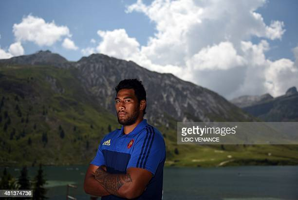 French lock Sebastien Vahaamahina poses during a Rugby Union World Cup 2015 training camp on July 20, 2015 in Tignes, French Alps. AFP PHOTO / LOIC...