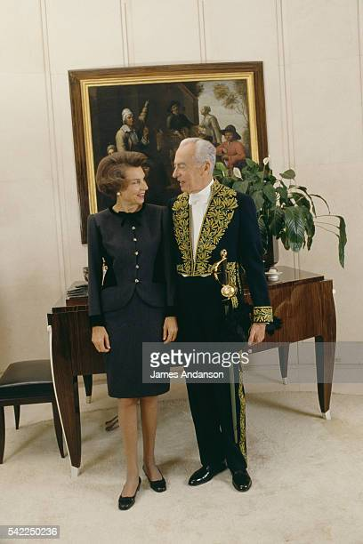 French L'Oreal heiress socialite businesswoman and philanthropist Liliane Bettencourt and her husband politician and Academic Andre Bettencourt at...