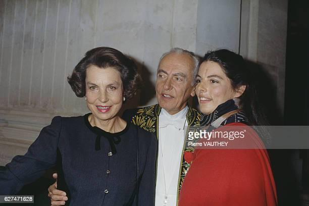 French L'Oreal heiress socialite businesswoman and philanthropist Liliane Bettencourt her husband politician Andre Bettencourt and their daughter...