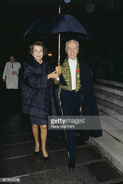 French L'Oreal heiress socialite businesswoman and philanthropist Liliane Bettencourt and her husband politician Andre Bettencourt attend his welcome...