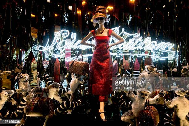 French luxury brand Louis Vuitton stand display is pictured on November 28 in Paris at the Printemps department store AFP PHOTO JOEL SAGET