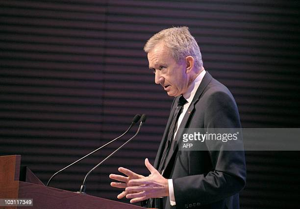 French luxury goods group LVMH chairman Bernard Arnault announces the 2010 first-half results of his group, on July 27, 2010 in Paris. AFP PHOTO /...