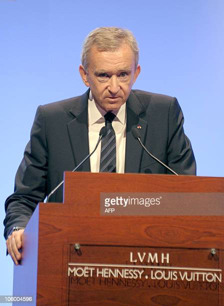 French luxury goods group LVMH chairman Bernard Arnault announces the 2010 firsthalf results of his group on July 27 2010 in Paris AFP PHOTO / ERIC...