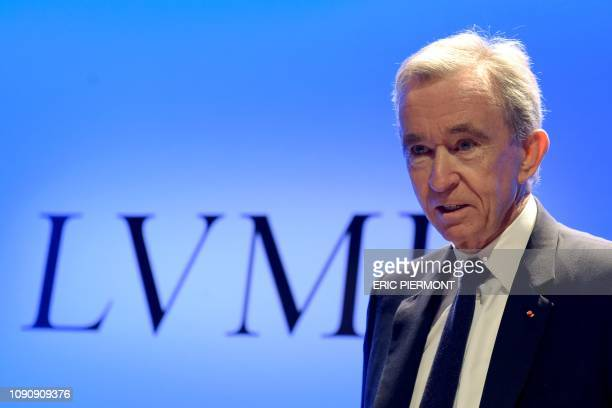 French luxury group LVMH Chairman and Chief Executive Officer Bernard Arnault presents the group's annual results for 2018 at the LVMH headquarters...