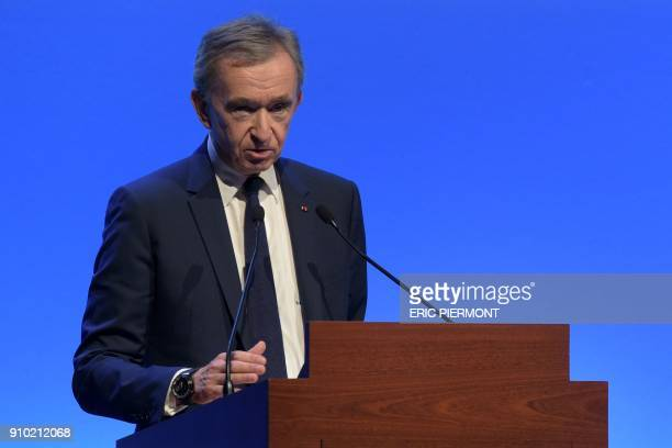 French luxury group LVMH Chairman and Chief Executive Officer Bernard Arnault presents the annual results for 2017 at the LVMH headquarters in Paris...