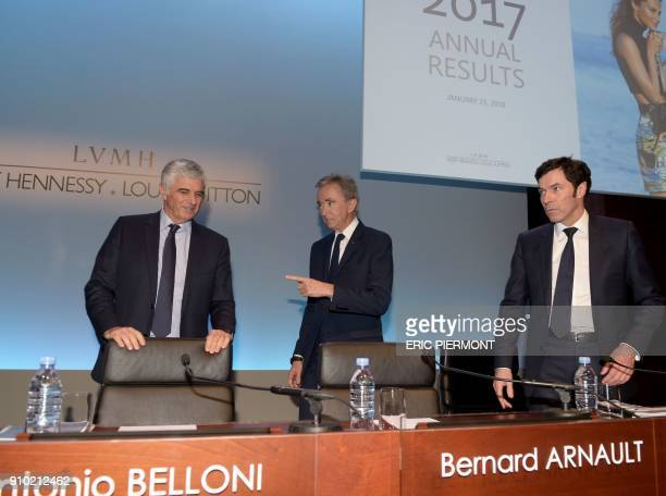 French luxury group LVMH Chairman and Chief Executive Officer Bernard Arnault LVMH Group Chief Financial Officer JeanJacques Guiony and Group...