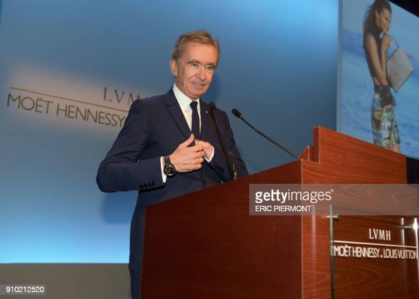 French luxury group LVMH Chairman and Chief Executive Officer Bernard Arnault arrives to present the annual results for 2017 at the LVMH headquarters...