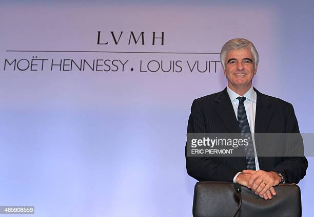 French luxury group LVMH Group Managing Director Antonio Belloni poses prior to the presentation of the group's 2013 full year results on January 30...