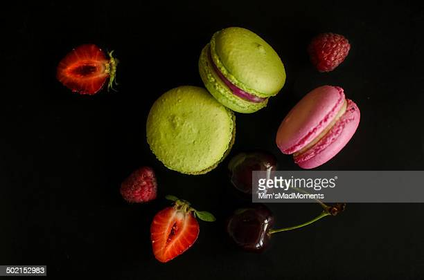 French macarons and fruits