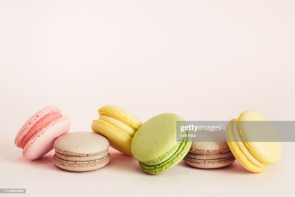 French macaroons cookies set with different flavors. Holidays food concept with copy space : Stock Photo