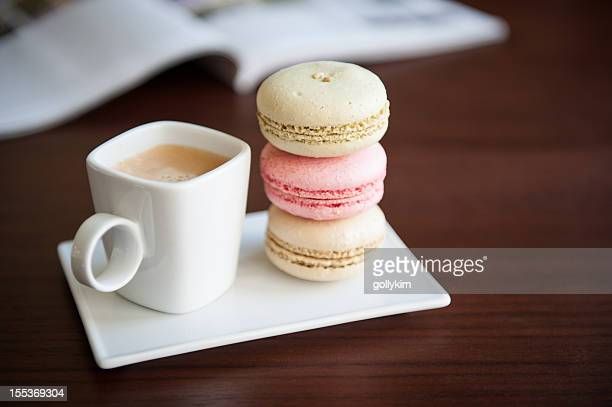 French macaroons with cup of espresso