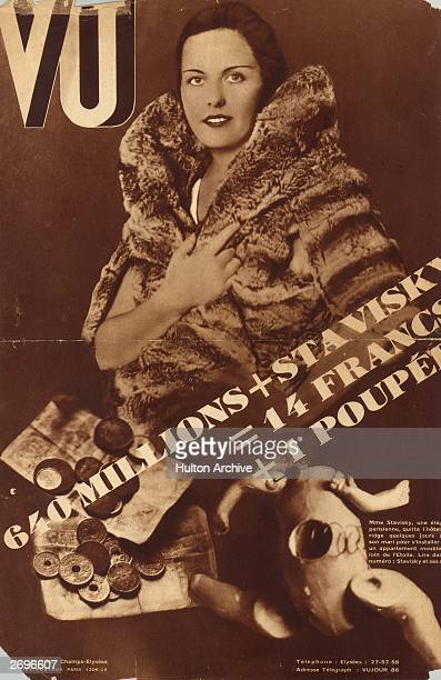 A French magazine cover featuring Arlette Stavisky wife of Alexandre Stavisky a RussianJewish swindler who caused a major scandal after it emerged...