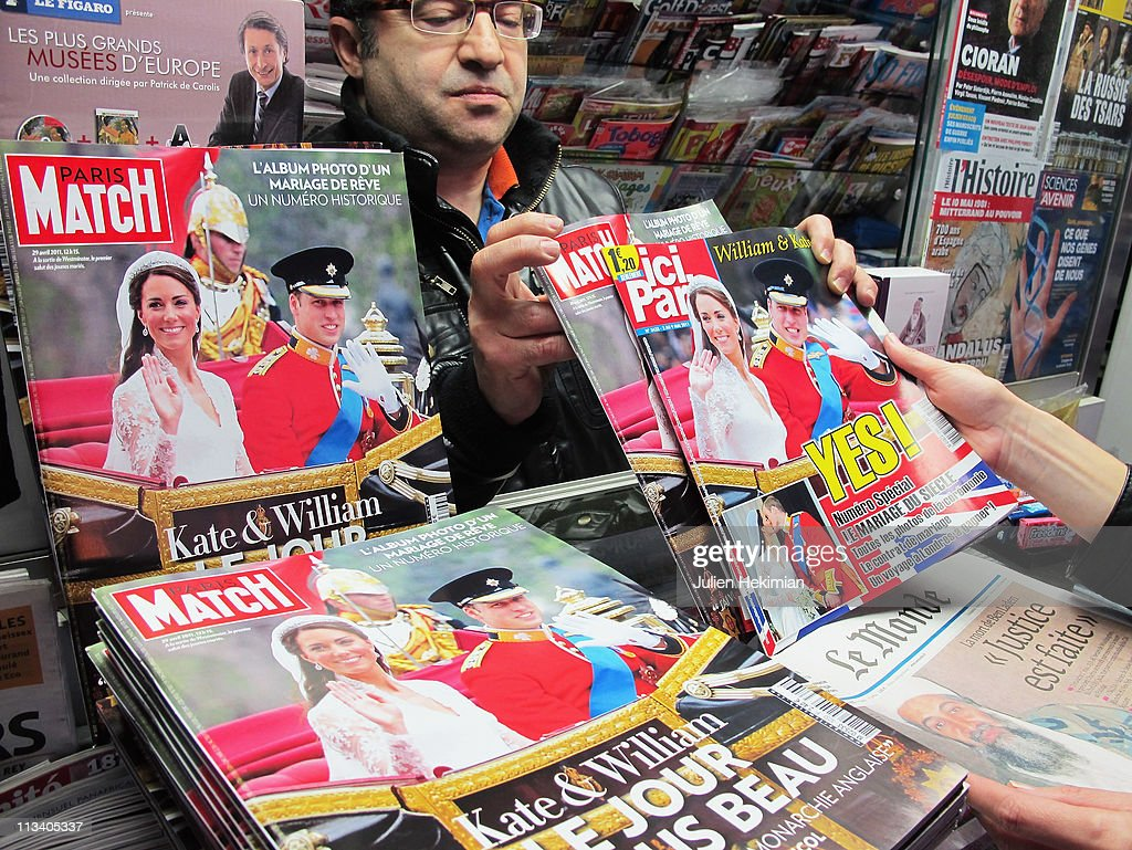 French magazine front covers show images of the marriage of their Royal Highnesses Prince William, Duke of Cambridge and Catherine, Duchess of Cambridge following their wedding at a news stand on May 02, 2011 in Paris, France.
