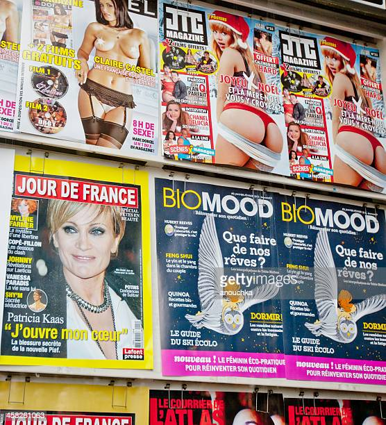 french magazines displayed on newsstand - pornographic magazine stock photos and pictures