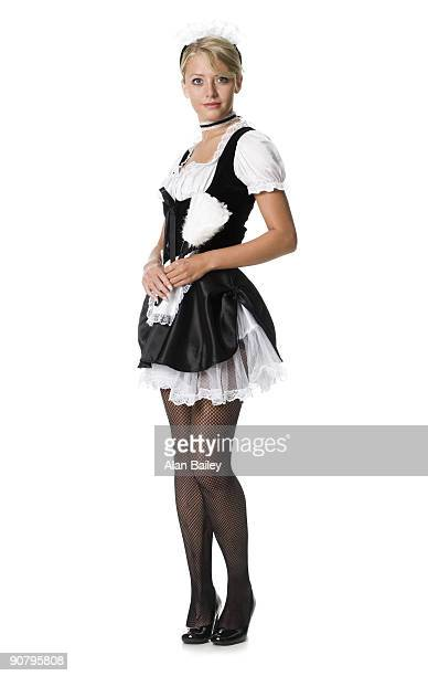 french maid - fishnet stockings stock pictures, royalty-free photos & images