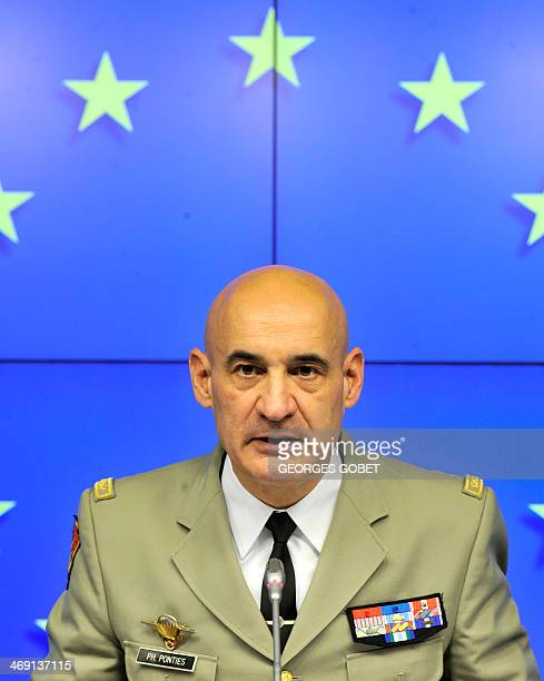 French Major General Philippe Ponties named to head a European Union military operation in the Central African Republic speaks during a press...