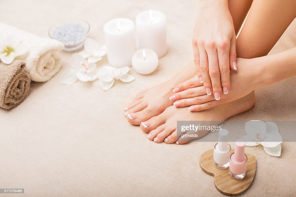 French manicure and pedicure : Stock Photo