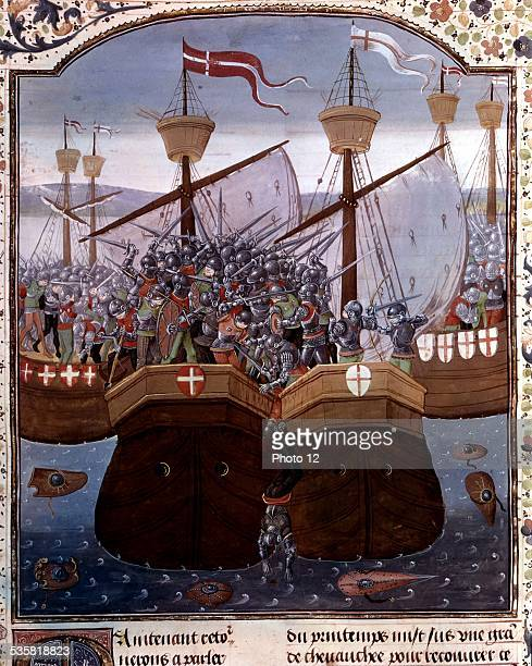 French manuscript Naval battle during the Hundred Years' War 15th century France