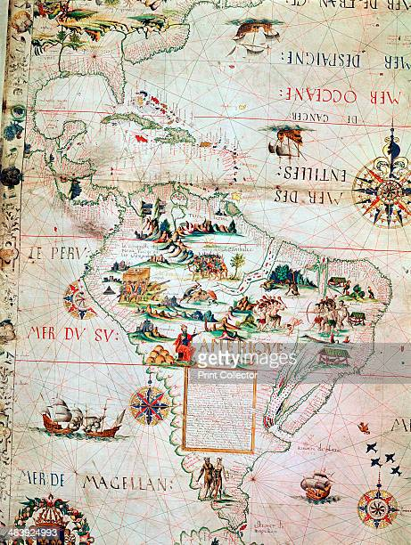 French Map of Central and South America French 1550 Map showing Florida the Gulf of Mexico the Caribbean islands and Antilles and South America with...