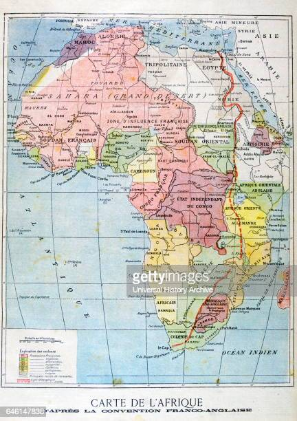 French map of territories controlled by the colonial empires in Africa 1899