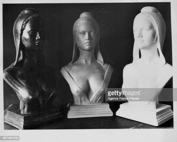 French 'Marianne' busts modeled on actress Brigitte Bardot symbolizing the French Republic November 17th 1971