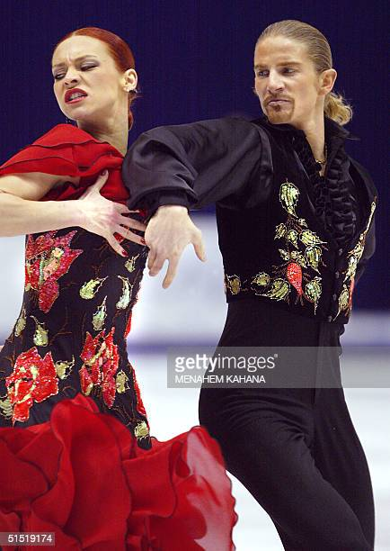 French Marina Anissina and Gwendal Peizerat perform their Ice Dancing Original Dance program at the Olympic Ice Center 17 February 2002 during the...