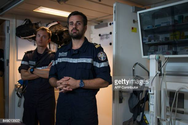 French marine doctor Jean stands in the infirmary of the French marine frigate Germinal docked at the port of Galisbay on the French Caribbean island...