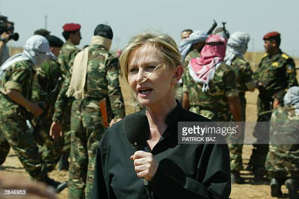 French Marine Jacquemin Senior International Correspondent for TF1 reports from a military training camp on the outskirts of Baghdad 15 March 2003...