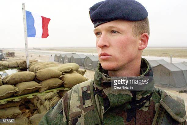 French marine patrols the base at the MazariSharif airport Deccember 10 2001 in Afghanistan French and American forces are securing the MazariSharif...