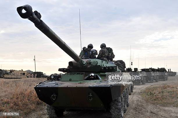 French Marines lead a convoy of combat vehicles during Exercise Bold Alligator 2012.