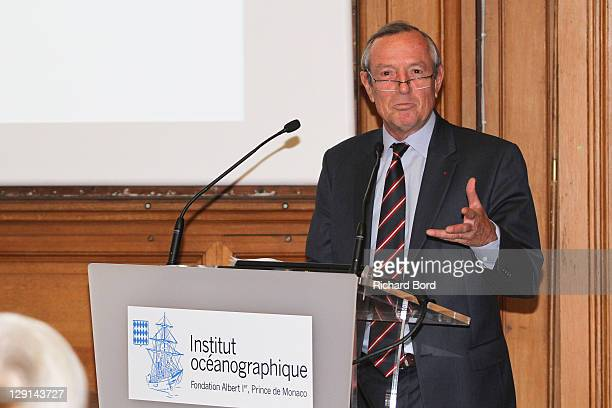 French Maritime' C.E.O. Francis Vallat speaks during the 'The Deep Seas, Challenges And Opportunities' Conference at Institut Oceanographique on...