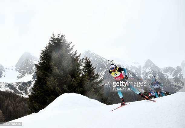 TOPSHOT French Martin Fourcade competes during the Men 15 km Mass Start Competition at the IBU Biathlon World Cup in RasenAntholz Italian Alps on...