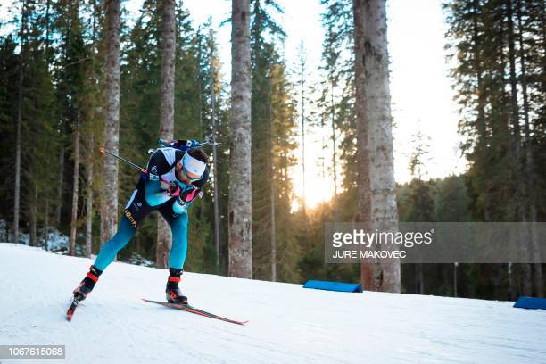 French Martin Fourcade competes during the Mixed Relay competition of the IBU Biathlon World Cup in Pokljuka on December 2 2018