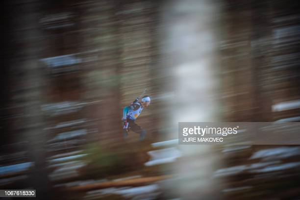 TOPSHOT French Martin Fourcade competes during the Mixed Relay competition of the IBU Biathlon World Cup in Pokljuka on December 2 2018